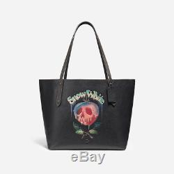 Disney X Coach Poison Apple A Dark Fairy Tale Black Leather Market Tote 31152