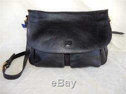 Dooney & Bourke Florentine Black Flap Foldover Crossbody Saddle Bag Purse