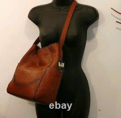 FRYE $348 NEW Leather Cognac Brown Hobo side pocket DB323 purse Crossbody Bag