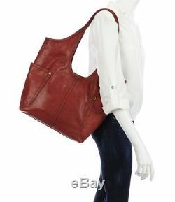 Frye DB073 Campus Leather Rivet Shoulder Bag (Burnt Red)