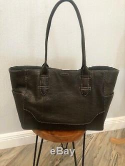 Frye Dark Brown Leather Large Handbag Shoulder Bag Tote NWT