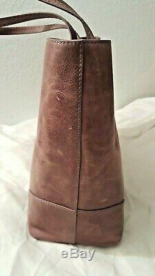 Frye Melissa Antique Italian Leather Shopper Shoulder Bag Tote Lilac Purple RARE