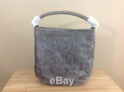 Frye Melissa Antique Pull Up Italian Leather Hobo Shoulder Bag Handbag Ice Grey