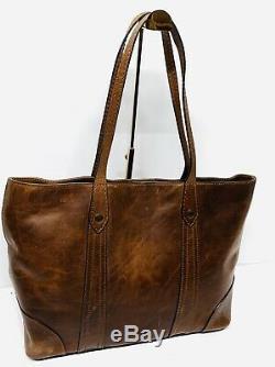 Frye Melissa Shopper Tote Bag Leather Women Handbag Purse Magnetic Snap Cognac
