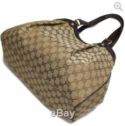 GUCCI GG Monogram Canvas Shoulder Bag Dark Brown Leather Trim Tote 388919 New