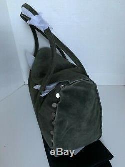Hammitt Shawn Eucalyptus Green Suede Blue Leather Brushed Silver Stud Satchel