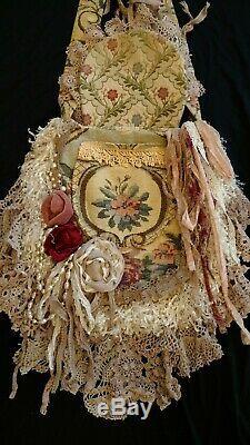 Handmade Large Bag Vintage Lace Floral Tapestry Fringe Crossbody Purse tmyers