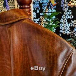 Italy Oil Wax Cowhide Vintage car coat, Luxury Mens Biker Genuine leather Jacket