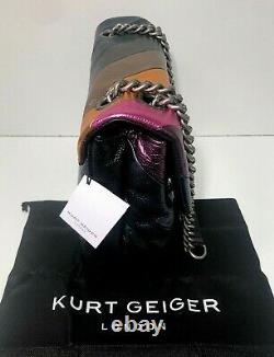 KURT GEIGER LONDON Large Kensington Soho Rainbow Soft Leather Shoulder Bag NWT