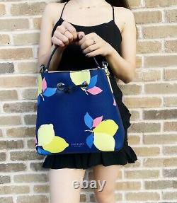 Kate Spade Eva Lemon Zest Large Bucket Bag Blue Yellow Drawstring Crossbody Bag