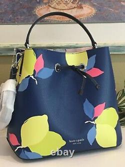 Kate Spade Eva Lemon Zest Large Bucket Shoulder Tote Bag Navy Blue Yellow $379