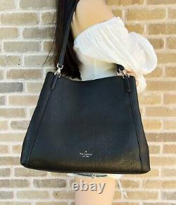 Kate Spade Jackson Large Triple compartment Shoulder Bag Tote Leather Black