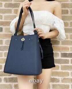 Kate Spade Marti Large Bucket Bag Shoulder Tote Crossbody Navy Pebbled Leather