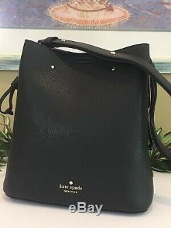 Kate Spade Marti Large Bucket Shoulder Tote Bag Black Leather Gold $399