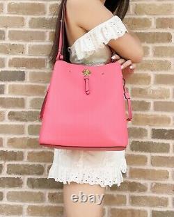 Kate Spade Marti Large Leather Bucket Bag Shoulder Bag Crossbody Garden Pink