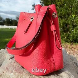 Kate Spade Marti Large Leather Bucket Bag Shoulder Bag Crossbody Stoplight Red