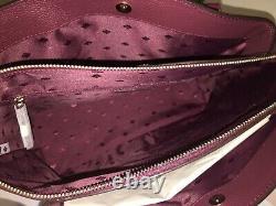Kate Spade Monet Large Triple Compartment Tote Shoulder Bag Cherrywood Leather