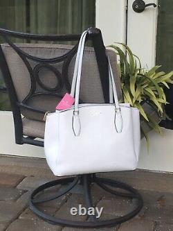 Kate Spade Monet Large Triple Compartment Tote Shoulder Bag Purse White Leather