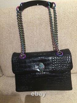 Kurt Geiger Large Kensington Croc Embos'd Leather Shoulder/X-Body Bag Black NWT