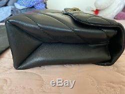 Kurt Geiger London Large Kensington Black Leather Shoulder Bag/ Gold Chain NEW