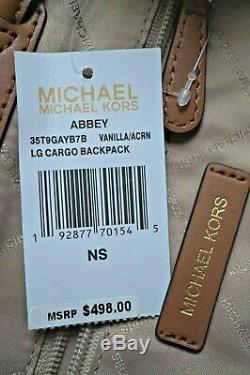 MICHAEL KORS ABBEY LARGE CARGO Backpack ONLY or Wristlet SET- VANILLA ACORN PVC
