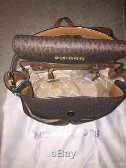 MICHAEL KORS Bedford Large Backpack Brown Acorn MK Signature NWT