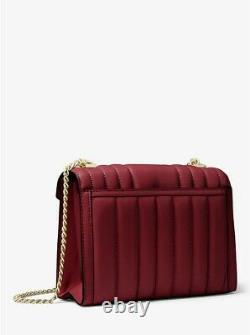 MICHAEL KORS MK Whitney Large Quilted Leather Convertible Shoulder Bag red berry