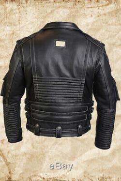 Men's Genuine Cowhide Premium Leather Motorcycle Biker Top Leather Jacket Black