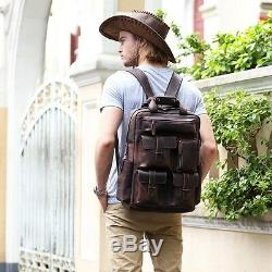 Men's Real Leather 17 Laptop Bag Backpack Large Hiking Travel Camping Carry On