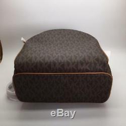 Michael Kors Abbey Jet Set MK Signature Large Leather Backpack NWT