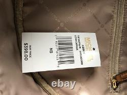 Michael Kors Abbey Large Backpack Brown MK Signature PVC Leather School Bag