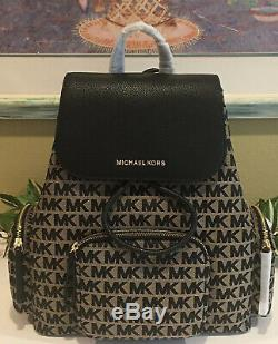 Michael Kors Abbey Large Cargo Backpack Beige Black Mk Signature Bag $498
