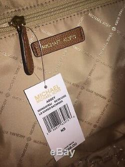 Michael Kors Abbey Large Cargo Backpack Beige Luggage Brown Signature Bag $498
