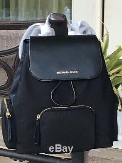 Michael Kors Abbey Large Cargo Backpack Black Nylon Leather Bag $448
