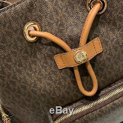 Michael Kors Abbey Large Cargo Backpack Mk Signature Pvc Leather Brown