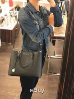 Michael Kors Adele Large Leather Satchel Crossbody Bag Handbag Black Silver MK