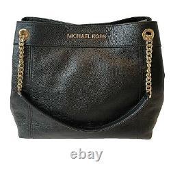 Michael Kors Black Leather Large Slouch Chain Shoulder Bag Jet Set Tote