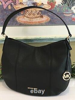 Michael Kors Brooke Large Hobo Shoulder Bag Purse Tote Black Leather Gold $428