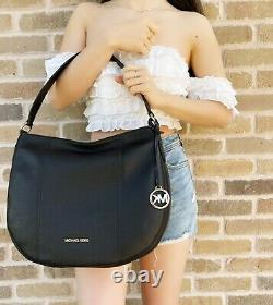 Michael Kors Brooke Large Hobo Tote Top Zip Shoulder Bag Black Pebbled Leather
