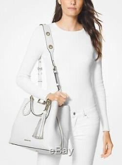 Michael Kors Brooklyn Large White Pebbled Leather Grab Bag 30H8BBNT3L