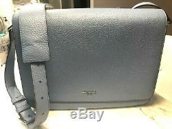 Michael Kors Bryant Large EW Messenger Laptop Bag Pebbled Leather Lt Denim $448