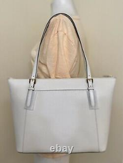 Michael Kors Ciara Large East West Top Zip Tote Saffiano Leather in White