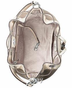 Michael Kors Dottie Large Python Embossed Leather Drawstring Bucket Bag Natural