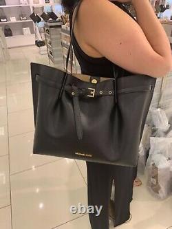 Michael Kors Emilia Large Tote Leather Shoulder Purse Handbag in Black