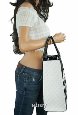 Michael Kors Everly Convertible Graphic Large Logo Tote Bag Mk Black White