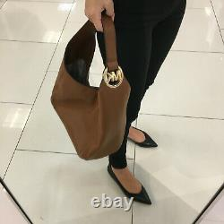 Michael Kors Fulton Large Hobo Shoulder Bag Brown Leather 35S0GFTH3L NWT $398