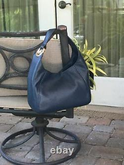 Michael Kors Fulton Large Hobo Shoulder Bag Navy Leather 35S0GFTH3L NWT $398 Ret