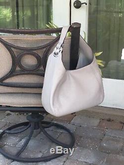 Michael Kors Fulton Large Hobo Shoulder Bag Purse Mk Grey Leather Silver $398