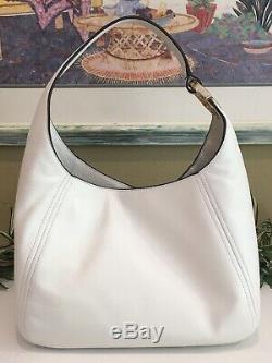 Michael Kors Fulton Large Hobo Shoulder Bag Purse Mk White Leather Gold $398
