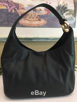 Michael Kors Fulton Large Shoulder Purse Black Leather Gold Hobo Bag $398